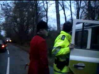 A member of the hunt being arrested
